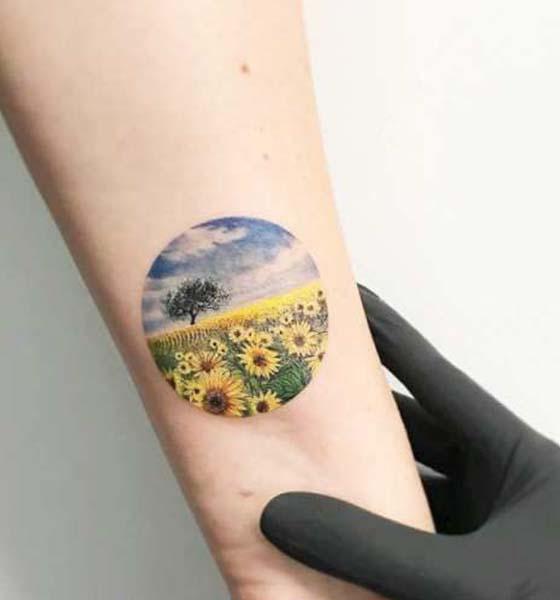 Beautiful Miniature Sunflower Tattoo for Men and Women