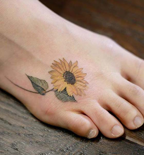 Beautiful Sunflower Tattoo on Foot