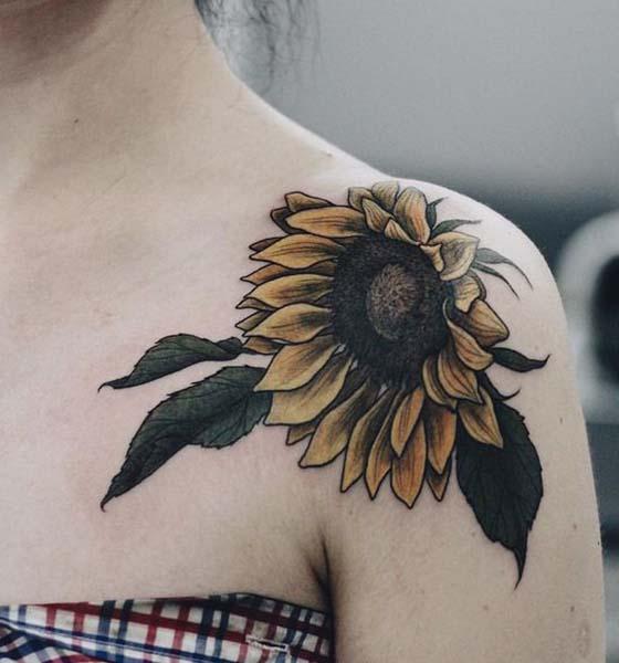 Beautiful Sunflower Shoulder Tattoo