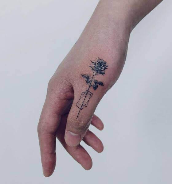 Best Blue rose tattoo on hand