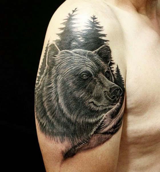 Black Bear Tattoo on Half Sleeve