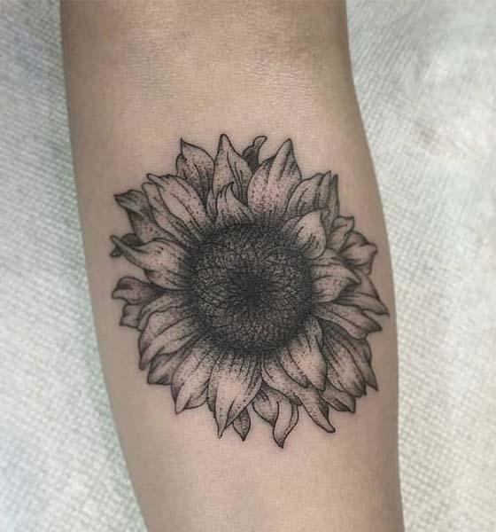 Black & White Sunflower Tattoo Designs