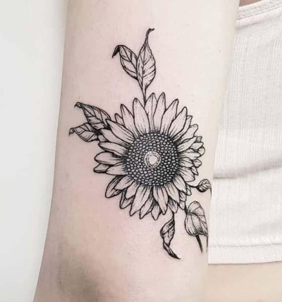 Black & White Sunflower Tattoo