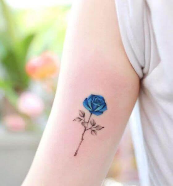 Pretty Blue Rose Tattoo Design