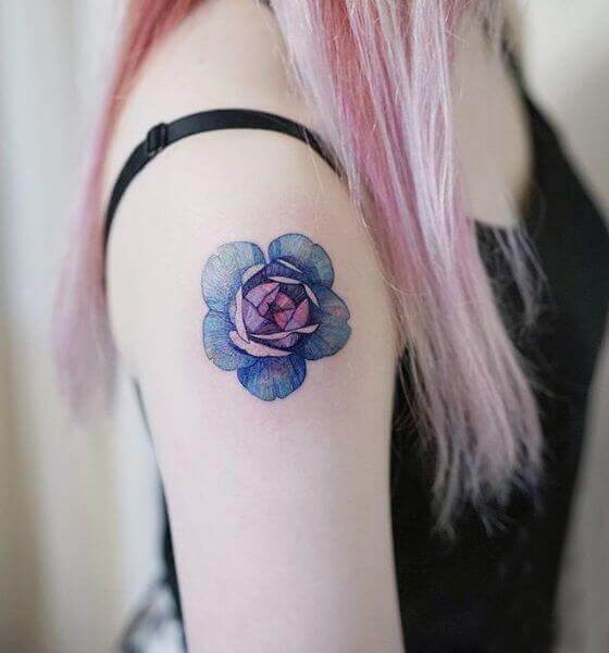 Cute Blue rose tattoo for girl