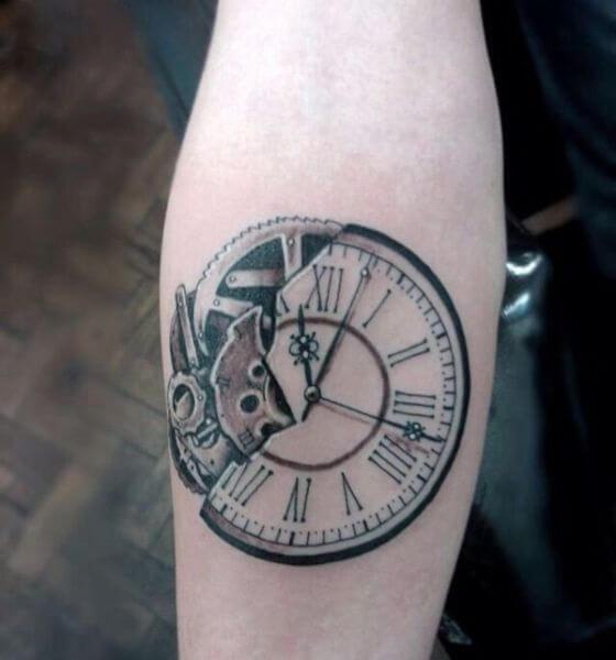 Broken Clock Tattoo Design on Hand