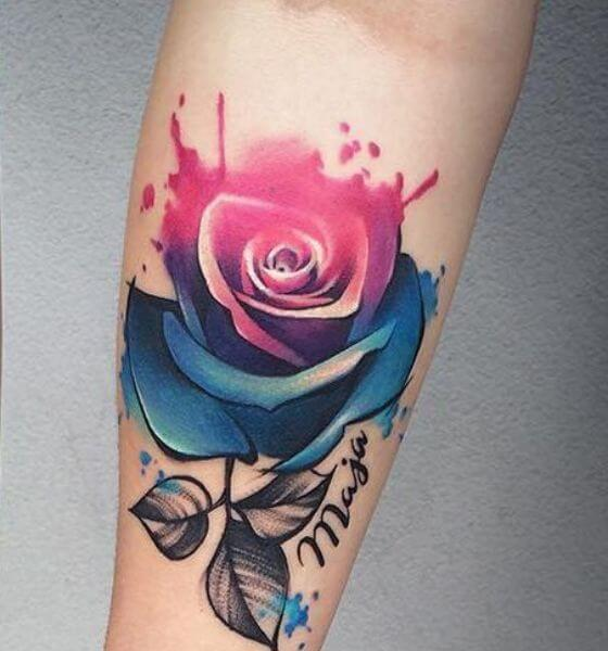 Colorful rose tattoo designs for women