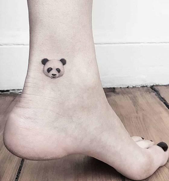 Cool Panda Tattoo on Ankle