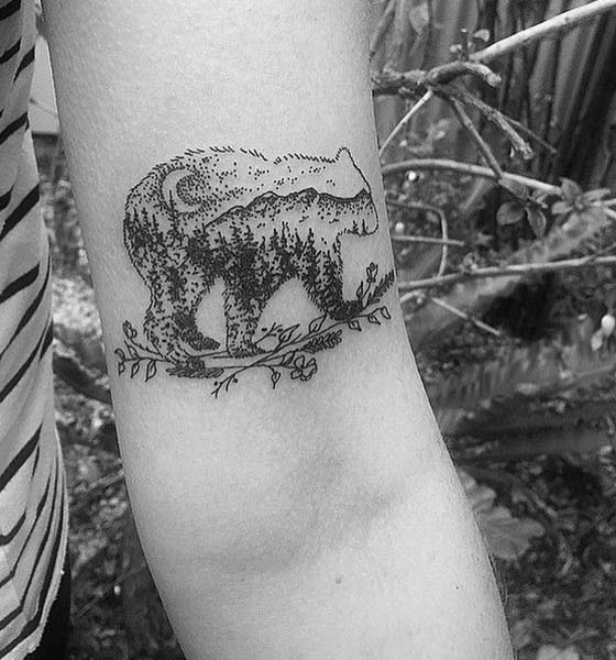 Dot Work Bear Tattoo on Hand
