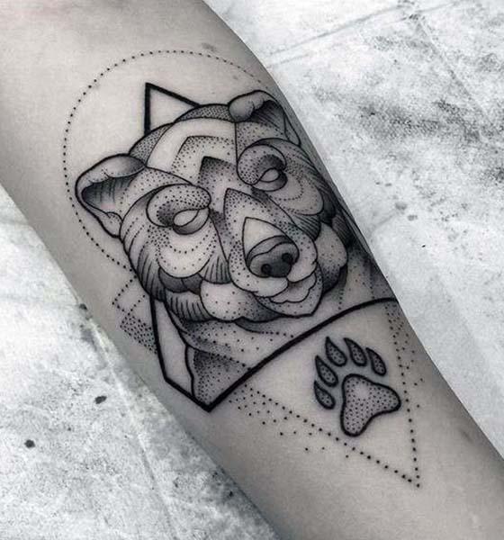 Dot Work Bear Tattoo Design