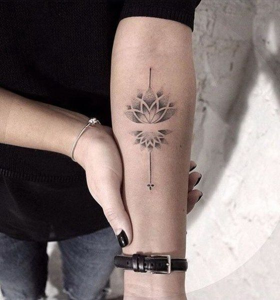 Dotted Lotus Flower Tattoo