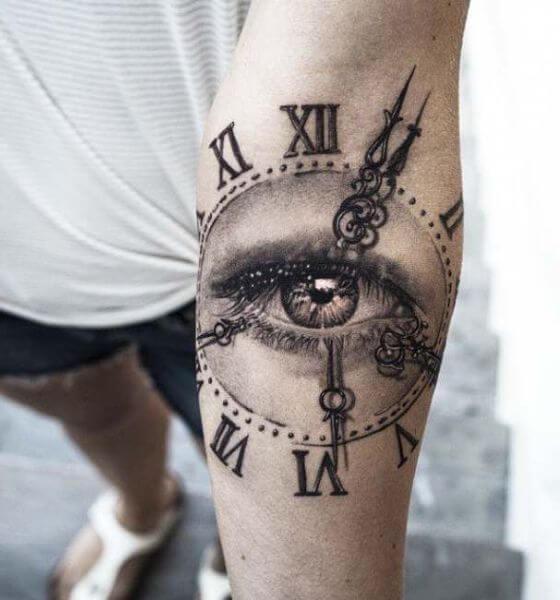 Amazing Eye Clock Tattoo on Hand