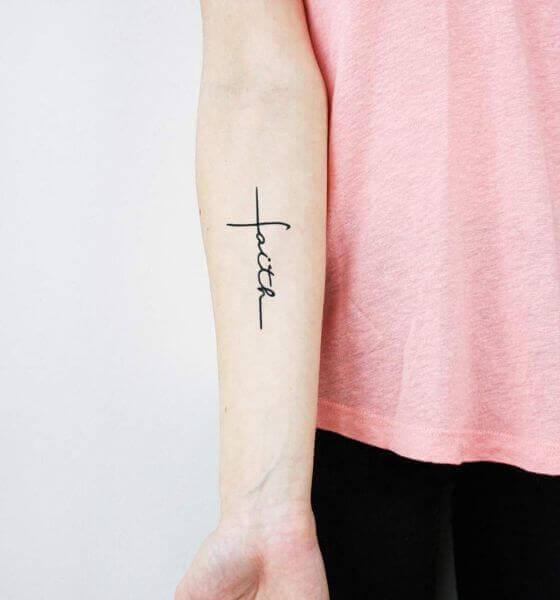 """Faith"" with Cross Symbol Tattoo Design"
