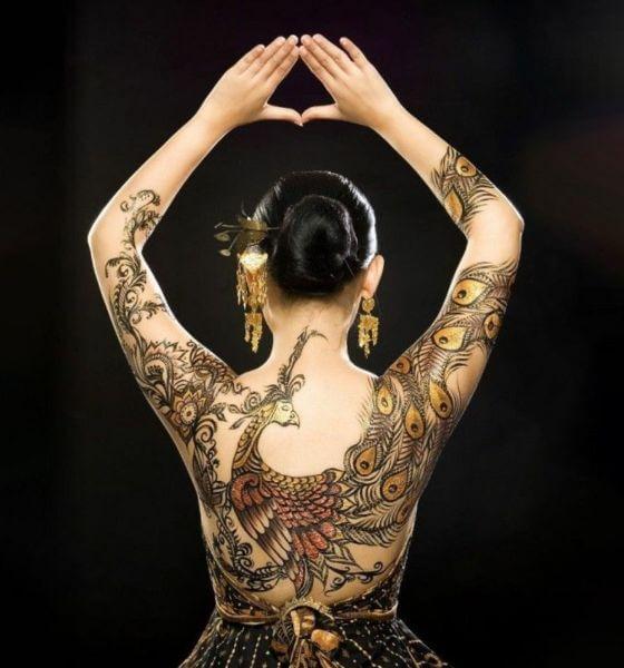 Full Back Peacock Tattoo Design