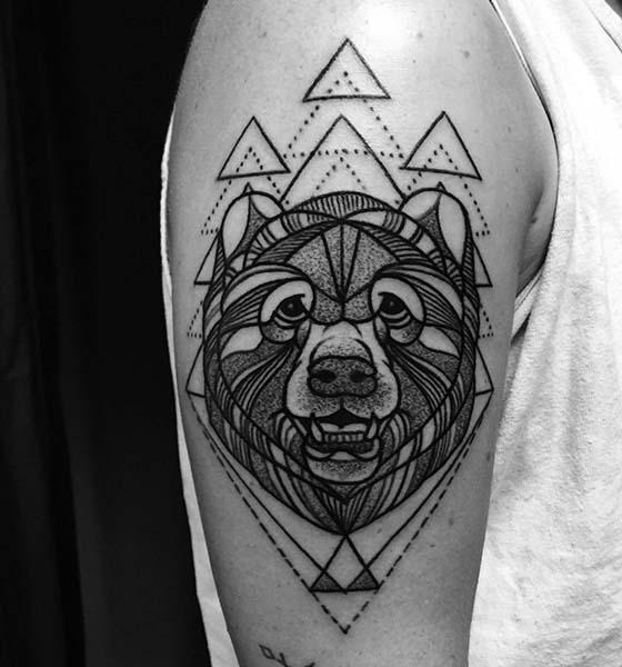 Geometric Bear Tattoo Design