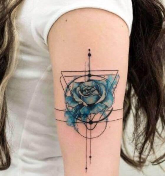 Geometric Blue Rose Tattoo