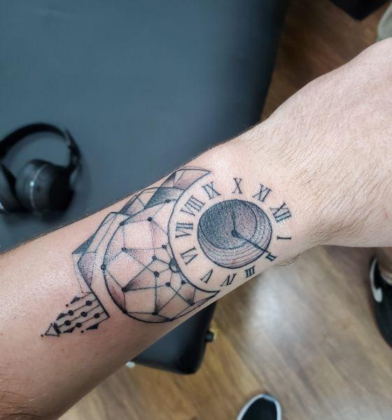 Geometric Clock Tattoo Design