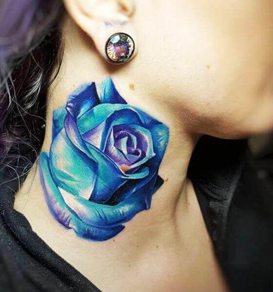Gorgeous Blue rose tattoo on neck