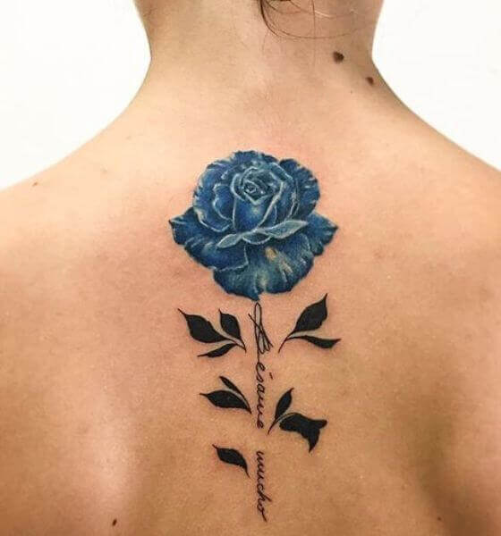 Gorgeous Blue rose tattoo on back