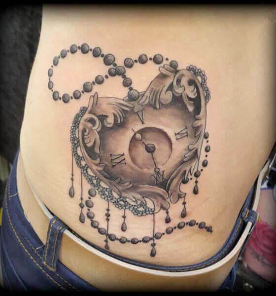 Attractive Heart Clock Tattoo