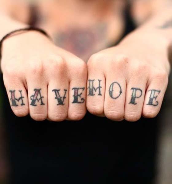 Hope Tattoo Ideas on Knuckle