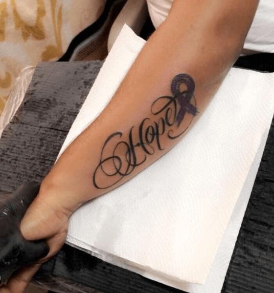 Hope tattoo on sleeve