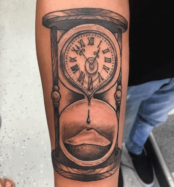 Hourglass Clock Tattoo Idea