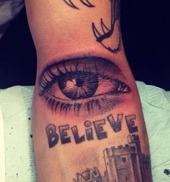 Justin Bieber's Eye Tattoo on his Arm