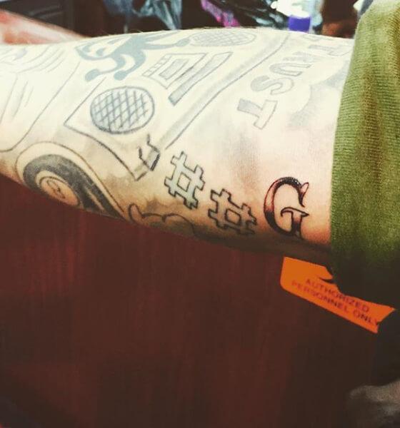 "Justin's Baby Georgia-Inspired ""G"" Arm Tattoo"
