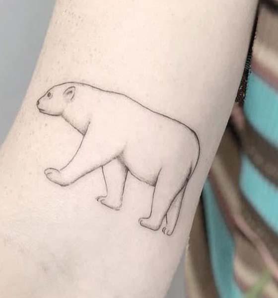 Outline Bear Tattoo on Inner Arm