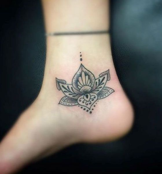 Overlapping Lotus Flower Tattoo on Ankle
