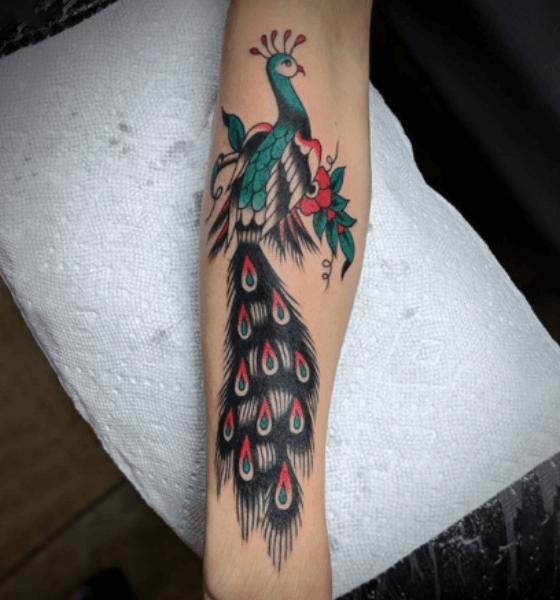 Peacock Tattoo on Full Sleeve