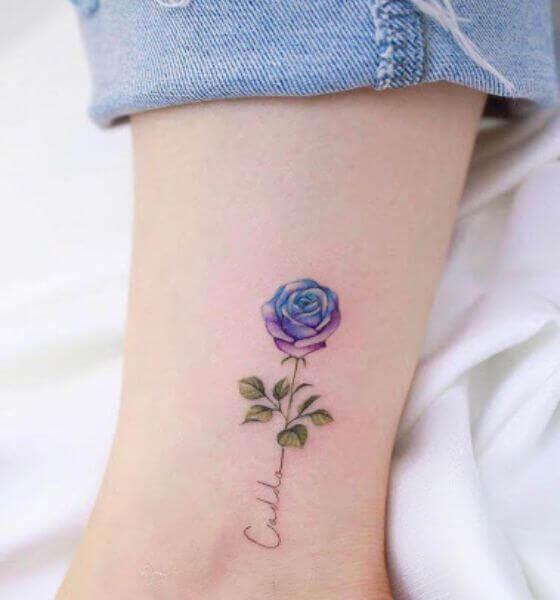 Pretty Blue rose tattoo