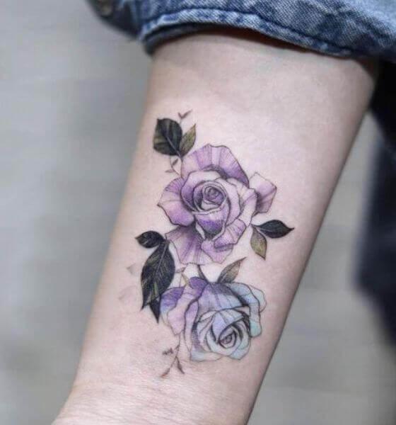 Purple Blue Rose Mix Tattoo