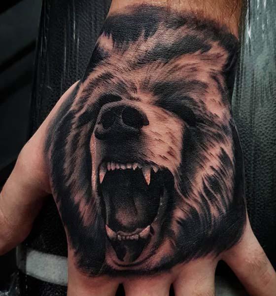 Roaring Bear Tattoo on Hand