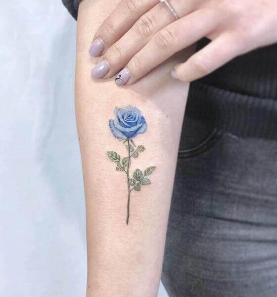 Simple Blue rose tattoo