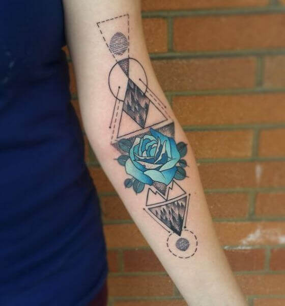 Stunning Blue rose tattoo idea