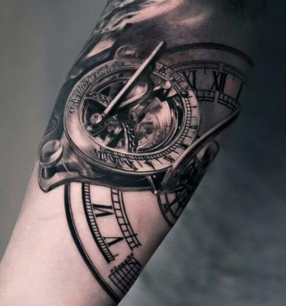 Sundial Clock Tattoo Design