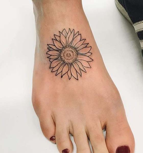 Sunflower Foot Tattoo