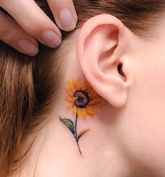 Sunflower Tattoo Ideas on Behind the Ear