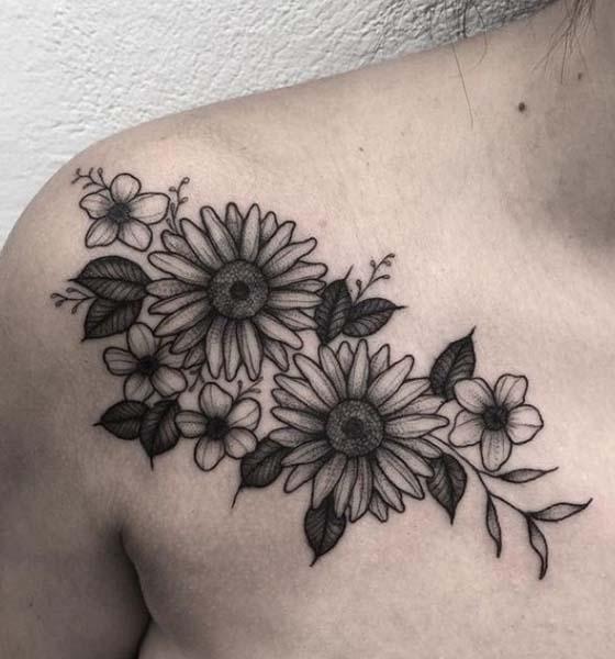 Sunflower Tattoo Design on Chest