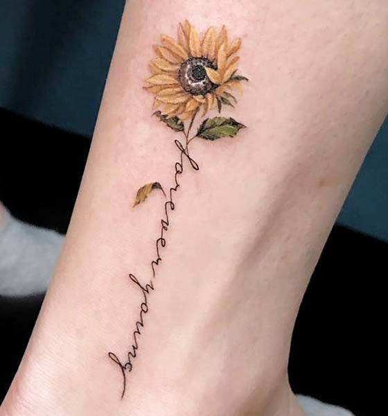 Sunflower Tattoo with Quote Ideas