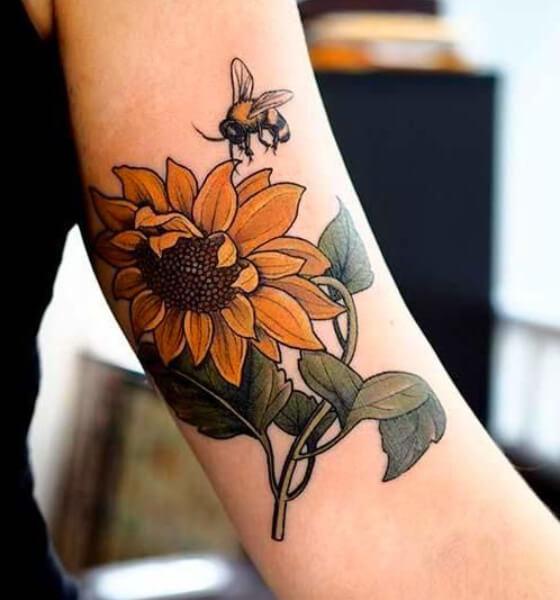 Sunflower and Bee Tattoo Ideas