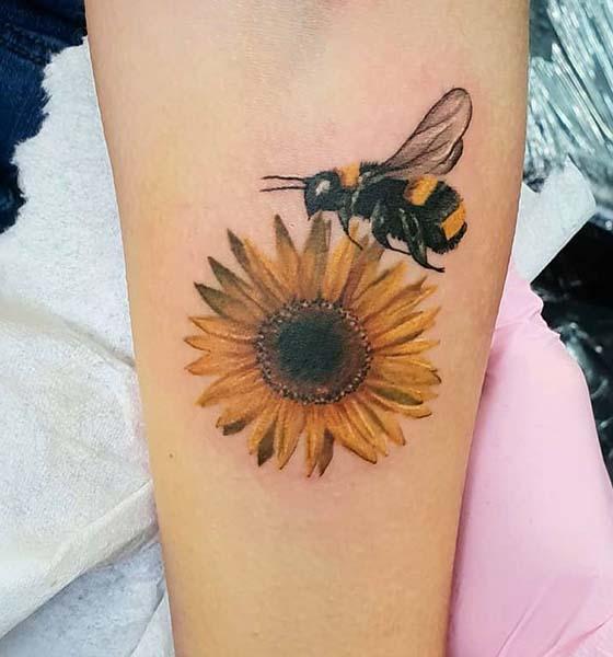 Beautiful Sunflower and Bee Tattoo