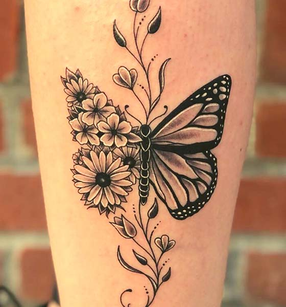 Sunflower and Butterfly Tattoo Ideas