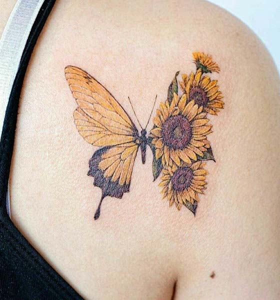 Sunflower and Butterfly Tattoo Ideas for Women