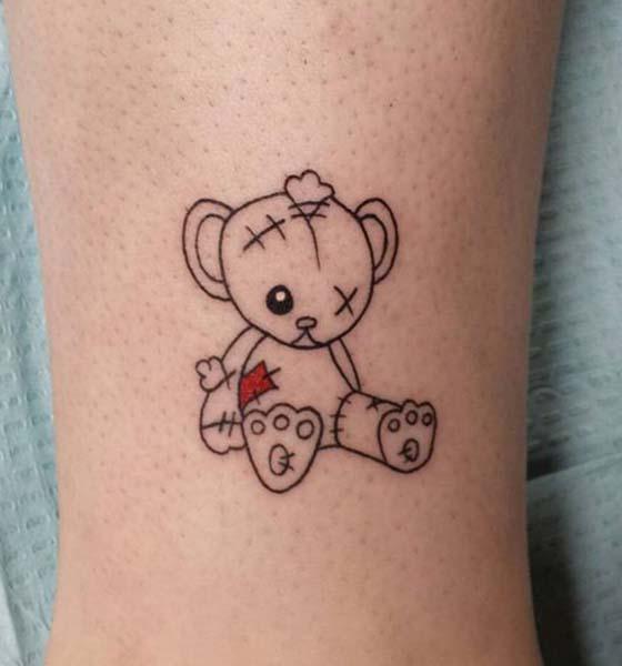 Cute Teddy Bear Tattoo Design
