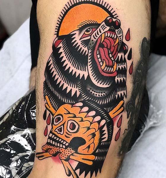 Traditional Bear Tattoo Idea