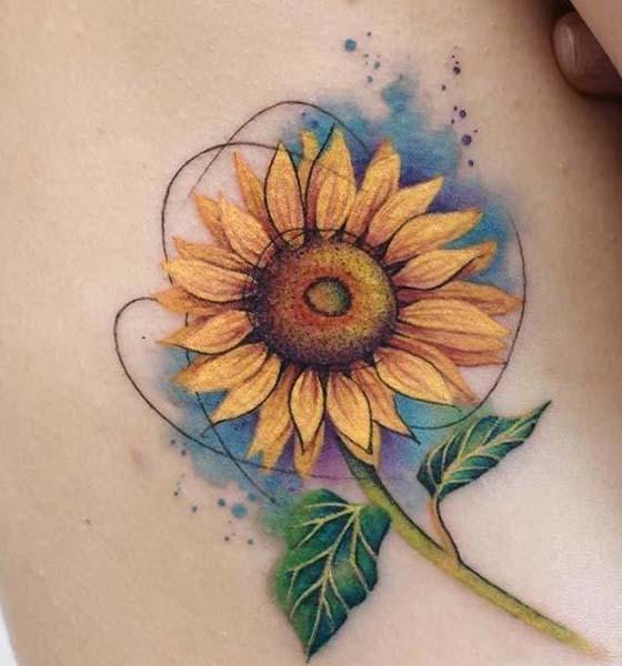 Watercolor Sunflower Tattoo Design
