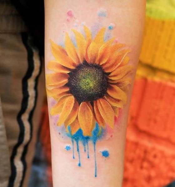 Gorgeous Watercolor Sunflower Tattoo